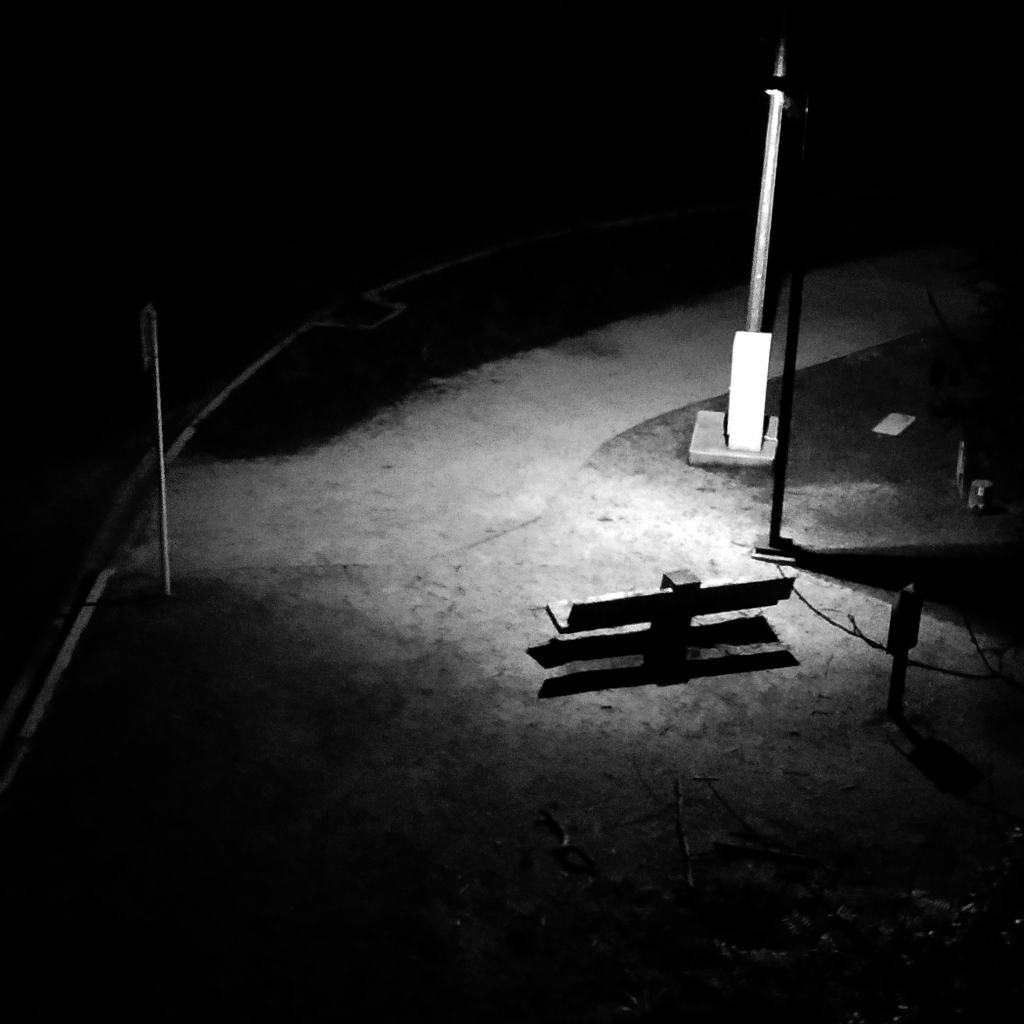 bench illuminated by a streetlight during the night